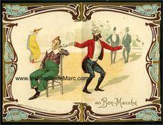 """Footit et Chocolat - Chromolithographie publicitaire pour le magasin """"Au Bon Marché"""", circa 1900. Antoine Boucicaut, qui développe le grand magasin Au Bon Marché, comprend très rapidement l'importance de la réclame. Il organise la distribution gratuite d'images chromolithographiques aux enfants, qui s'empressent de les collectionner. Il utilise ici la figure célèbre des deux clowns Footit et Chocolat, qui triomphent au Nouveau Cirque entre 1886 et 1905. Original document…"""