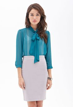 Sheer Bow-Front Top | LOVE21 - 2000068622