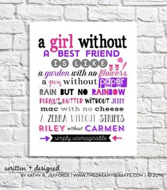 Best Friend Gift Idea Birthday Keepsake Print Unique Going Away Goodbye Personalized Girl Art Tween Decor