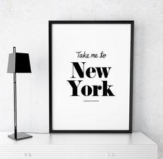 "Home Decor ""Take me to New York"" Printable Poster Travel Inspiration Digital Print New York Printable Poster Wall Art Instant Download"