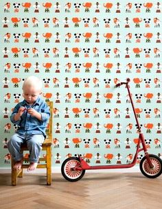 The wallpaper Marionette - 509 from Ferm Living is a wallpaper with the dimensions m x 10 m. The wallpaper Marionette - 509 belongs to the popular wallpaper Ferm Living Wallpaper, Kids Room Wallpaper, Animal Wallpaper, Fern Living, Papier Paint, Kindergarten Wallpaper, Casa Kids, Deco Kids, Marionette