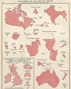 Countries of the British Empire drawn on a uniform scale of 1:60,000,000 ➖ #map #maps #cartography #geography #colonialism #colonies #colony #imperialism #empire #empires #british #britain #greatbritain #britishempire #history #commonwealth #canada #india #burma #myanmar #bangladesh #pakistan #nigeria #southafrica #jordan #australia #newzealand #guyana #ghana #srilanka