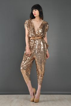 Sequin Encrusted Backless Draped Disco Jumpsuit | BUSTOWN MODERN