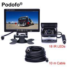 best price podofo dc 12v 24v 7tft lcd car monitor display 4 pin ir night vision rear view camera for bus #trailer #car