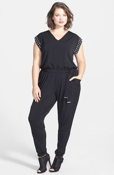 f7ad9cf7f5 MICHAEL Michael Kors Studded V-Neck Jumpsuit (Plus Size) available at   Nordstrom