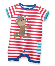 Look at this Mud Pie Red & White Stripe Safari Monkey Romper - Infant on #zulily today!