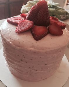 Strawberries and Cream Cake. 2 layer vanilla chiffon cake frosted and filled with fresh strawberry purée, whipped cream, condensed milk and mascarpone and cream cheese blend.