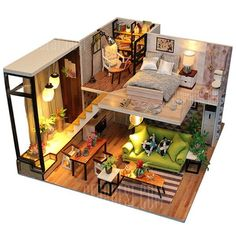 2 Storey Modern DIY Doll House - Furnished Miniature House w/ Lights - Wooden Dollhouse Grownup Toy - Dollhouse Furniture Kit - Diy Project 2 Storey Modern DIY Doll House Maison miniature meublée w/ Dollhouse Toys, Wooden Dollhouse, Dollhouse Furniture, Dollhouse Miniatures, Miniature Furniture, Wooden House, Tiny House Design, House Layouts, Kit Homes