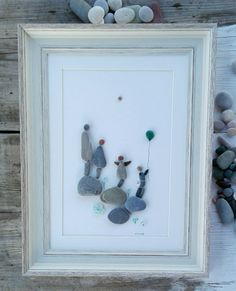 Pebble art family, family  home,17,6x12 inch picture,  family4 home wall art, home gift, living room decor, new home gift, rocks family