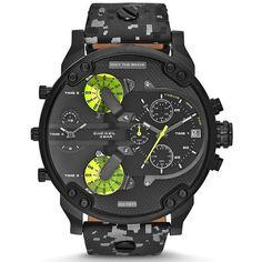 Diesel Men s DZ7311 Mr. Daddy 2.0 Chronograph 4 Time Zones Black Leather  Watch c9c1fab22