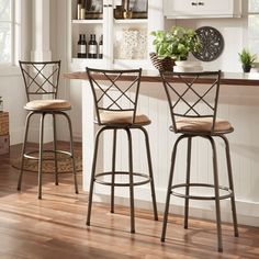 Barstools are so hard to choose. Avalon Quarter Cross Swivel Counter Barstool by TRIBECCA HOME (Set of 3)