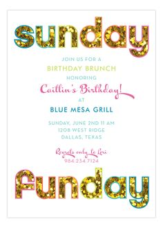 It's Sunday and you want to get turnt and you need high end party invitations to do so. Look through our Polka Dot Glitter Party Invitations and you will find this Glitter Sunday Funday Invitation in our online stationery store. This invite screams party. High Tea Invitations, Free Birthday Invitations, Invitation Flyer, Brunch Invitations, Invitation Wording, Glitter Invitations, Invitation Ideas, Invite, Tea Party Birthday
