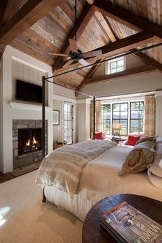 View this Great Country Master Bedroom with stone fireplace & Carpet by Morgan-Keefe Builders. Discover & browse thousands of other home design ideas on Zillow Digs. Country Master Bedroom, Dream Bedroom, Home Bedroom, Bedroom Decor, Bedroom Ideas, Bedroom Ceiling, Bedroom Fireplace, Master Bedrooms, Farm Bedroom