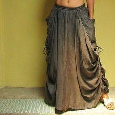 Helen SkirtSmoke Gray mix silk All size by cocoricooo on Etsy Gypsy Style, Bohemian Style, Boho Chic, Style Me, Pantalon Large, Boho Fashion, Womens Fashion, Runway Fashion, Refashion