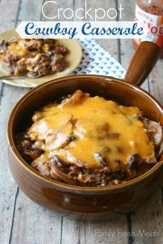 Cheesy Crockpot Cowboy Casserole from @Family Fresh Meals