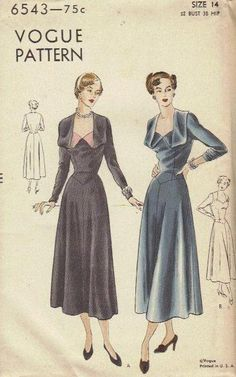 Rare 1940s Vintage Vogue Sewing Pattern by AdeleBeeAnnPatterns, $43.00