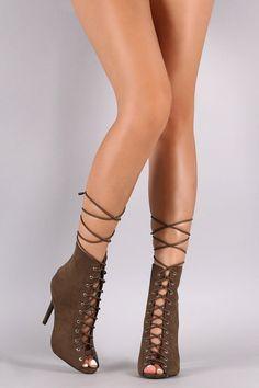 Qupid Lace Up Peep Toe Heel Booties