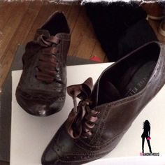 """EUC Brown  Leather Oxfords Anne Klein S 6.5 Worn one time. Gorgeous rich brown vintage style leather (not vintage shoes) tie up oxfords by Anne Klein NY. These look brand new except for the small scuff on one toe which is shown in Pic 3. 3.5"""" heel height. Can be fixed with dab of polish. Come with dust bag and box. Size 6.5. Anne Klein Shoes Flats & Loafers"""