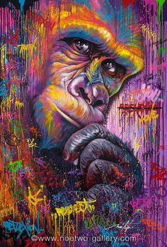 art, colors, draw, gorilla, graffiti