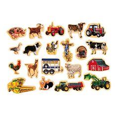 Amazon.com: T.S. Shure Farm Vehicles Wooden Magnets 20 Piece MagnaFun Set: Toys & Games