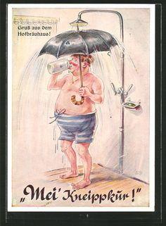 AK Münchner Hofbräuhaus, Mei´ Kneippkur, Zecher duscht mit Regenschirm 1964 in Sammeln & Seltenes, Ansichtskarten, Motive   eBay