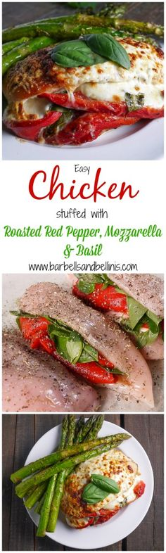 Easy Chicken stuffed with Roasted Red Pepper, Mozzarella, and Basil. And we switched tomato for the red pepper for a caprese-style chicken. Turkey Recipes, Chicken Recipes, Meat Recipes, Recipies, Clean Eating, Healthy Eating, Cooking Recipes, Healthy Recipes, I Love Food