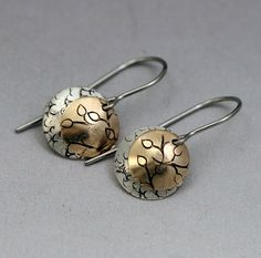 Gold and Silver Circle Earrings by ValerieTyler on Etsy, $36.00