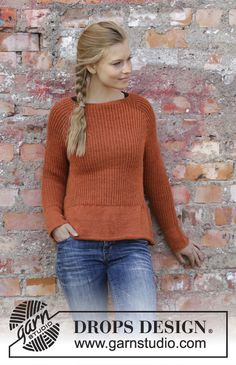 Knitted sweater with raglan in DROPS alpaca. The piece is knitted by o . Knitted sweater with raglan in DROPS alpaca. The piece is knitted from top to bottom in the half-patent and with a rolle. Sweater Knitting Patterns, Easy Knitting, Knit Patterns, Knitting Books, Drops Design, Laine Drops, Jumper Designs, Raglan Pullover, Alpacas