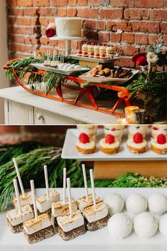 Isn't this dessert table on a vintage sled just the cutest! It's prefect for a winter wedding and we love all the winter themed treats that go along with it including: chocolate covered marshmallows, snowy cake balls, and warm little pies on a stick! CreditsPhotographers: Tony Asgari Cakes & Catering: Diannes DelightsView PostWinter wedding Inspiration