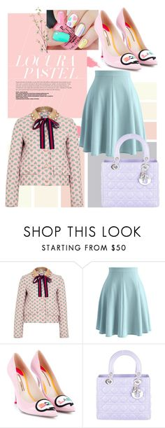 """""""Play with pastels"""" by she-collections ❤ liked on Polyvore featuring Gucci, Chicwish, Sophia Webster, Christian Dior and Pier 1 Imports"""
