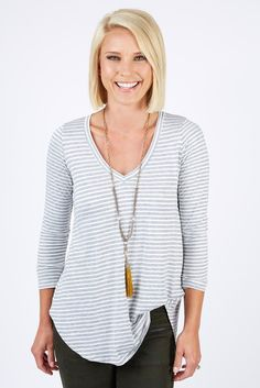 Rodeo Stripe Longsleeve Tunic Tee by Evereve | The #1 boutique for moms! $5 Flat Rate Shipping + FREE shipping on all orders over *$50. #Evereve