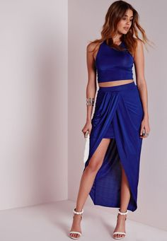 3c0f5f92f92dd Missguided - Slinky Wrap Maxi Skirt Cobalt Blue Cobalt Blue Skirts