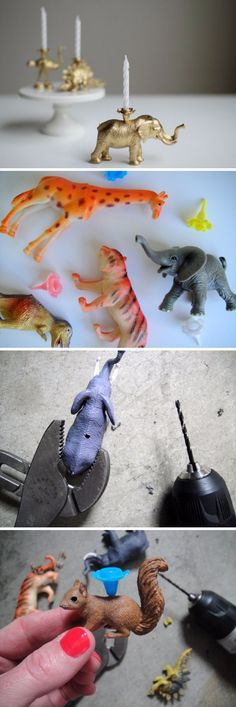 DIY Toy Animal Candles.