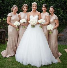 Cap Sleeve Bridesmaid Dress, Champagne Bridesmaid Dresses, Mermaid Bridesmaid Dresses, Wedding Bridesmaids, Wedding Dresses, Bridesmaid Ideas, Gown Wedding, Wedding Bouquets, Wedding Reception