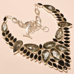 """AWESOME BLACK RUTILE WITH BLACK SPINEL - 925 SILVER JEWELRY NECKLACE 18""""…"""