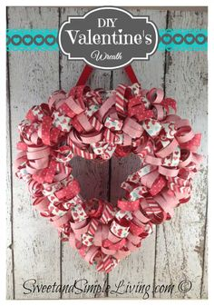 Valentine's Day Heart Wreath with FREE Tutorial from SweetandSimpleLiving.com