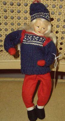 Doll Cloth Norwegian Ronnaug Petterssen Felt Skier Doll