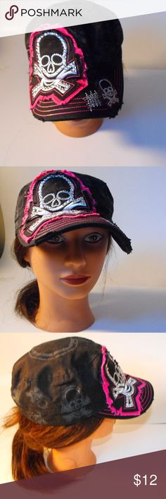 Women s fitted black skull hat Women s black cap with skull design printed  and embroidered designs hat df78f74c3665