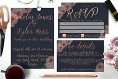 Navy and Rose Gold Wedding invitation set by Opheliafpg on Etsy