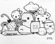 Miss octopus, Pussy, has new family... This is happyness! #doodle #doodling #kawaii #family #goodmorning #doodlingart #friends #octopus #happyness #missoctopus #adventure #sketchbook #art #thedoodlesmama