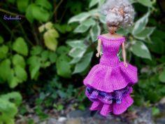 Puppenkleidung - Abendkleid mit 3 Stufen * für Barbie * - pink/lila - ein…