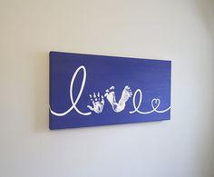 Custom Love Handprint and Footprint with Heart by SnowFlowerArts, $43.00
