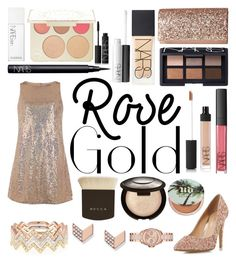 """Rose Gold"" by bowhunter1498702 ❤ liked on Polyvore featuring EF Collection, Jessica McClintock, Head Over Heels by Dune, Dorothy Perkins, NARS Cosmetics, FOSSIL, Becca, Urban Decay and MICHAEL Michael Kors"