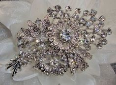 Silver Crystal Flower Spray Bouquet Brooch Art Deco 1920 s Vintage Glamour