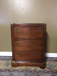Tall Mid Century Campaign Style Nightstand B By National Mt Airy Furniture British