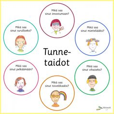 Tunnetaidot - Värinautit Finnish Language, Finland, Kindergarten, Mindfulness, Teaching, Education, Kindergartens, Onderwijs, Learning