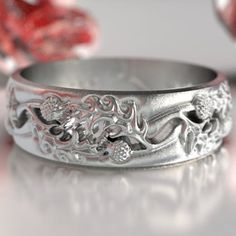 Thistle Ring Band; $191.10Cdn; sterling silver; ships from U.S.A.; at Etsy.com