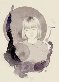 Star Gazer 1, 2012 - Print    Print of an original graphite, watercolor and digital illustration. The image measures approx. 5 x 7 plus a white