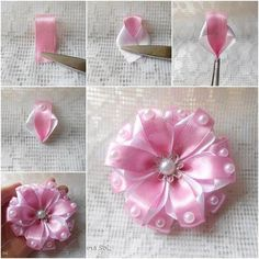 DIY Ribbon Crafts : DIY Pretty Ribbon flower with pearls