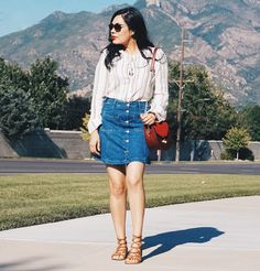 Denim and Lace Up www.AugustRunway.com #trends #fashion #streetstyle